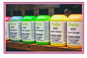 Angelus Neon Acrylic Leather Paint for Shoes, Sneakers, Bags, 12 Colors 4oz