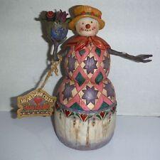 Jim Shore Snowman w/Flower Pot Figurine ~ Winter's Treasure ~ 112255
