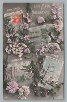 """Birth Months"" Antique French Calendar RPPC Photo—Spring Summer Fall Winter 1912"