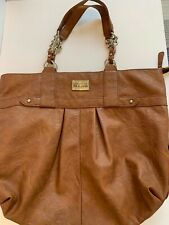 Kenneth Cole Reaction Soft Slouchy Faux Brown Leather Tote Bag Purse Handbag