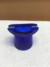 Vintage Cobalt Blue Top Hat Glass Ashtray Advertising Lowell Hand Cream