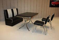 Bank Stuhlgruppe Paul King 6 50er Jahre Retro Vegas American Diner 4lg Schwarz