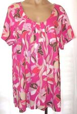 New Classic Elements Woman 16-18W Pink floral knit tee shirt scoop neck top