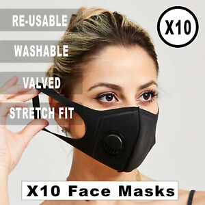 X10 Face Mask Black Valved Unisex | Washable Reusable Protection Half Face Cover