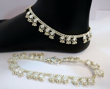 HANDMADE UNIQUE DESIGNER STERLING SILVER FINE ANKLET PAIR INDIAN PAYAL  55 GRAM