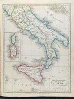 1829 SOUTH ITALY HAND COLOURED ORIGINAL ANTIQUE MAP BY SIDNEY HALL 191 YEARS OLD