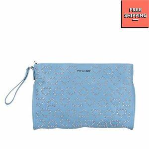 TWIN-SET SIMONA BARBIERI Wristlet Clutch Bag Large PU Leather Studded Hearts
