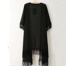 Women Chiffon Lace Kimono Open Cardigan Tassels Jacket Blouse Tops Boho