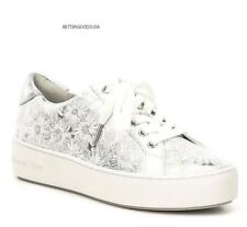 6eb18e754118 Michael Kors Feminino Tênis De Renda Papoula Em Relevo sapatos de couro  branco