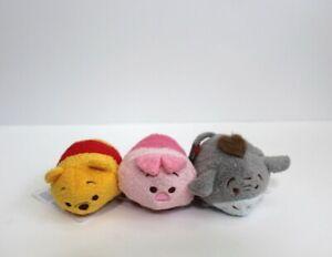 "Lot of 3 Disney Mini tsum tsum Winnie The Pooh Bear, Eeyore & Piglet 3.5"""