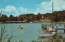 Mt Dora Florida birds eye view boats pier on lake vintage pc Z40338