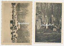 2 x Foto Soldaten Pferdewagen  2.WK (h273)
