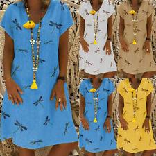 Women Boho Short Sleeve Loose Sundress Ladies V Neck Holiday Dress Tunic Kaftan