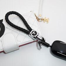For Tesla Logo Emblem Key Chain Ring BV Calf Leather Gift Decoration - Black
