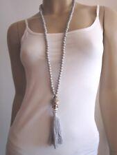 Modekette Damen Hals Kette lang Silber Grau Buddha Kopf Peace Ethno Ibiza Boho 7