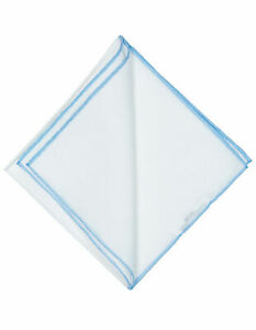 Cesare Attolini Handkerchief IN White & Light Blue Handrollierter Edge RegEUR120