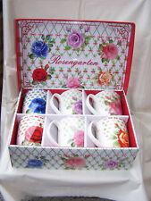 Tee-, Kaffeetassen * Rosengarten-Dekor * aus Porzellan *6er Set* Geschenkkarton