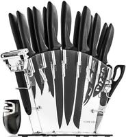 Stainless Steel Knife Set with Block - 13 Kitchen Knives Chef Sharpener, 6...