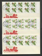 PALAU 1988 FLORAL DEFINITIVES  *LOVELY GROUP OF 3 DIFFERENT BOOKLET PANE FDC's*