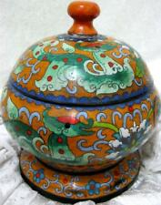 Chinese Cloisonne on copper Bowl and Lid Dragon and Flower- Great vintage piece