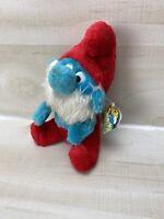 "Vintage 1981 Wallace Berrie & Co. Peyo 8"" Papa Smurf Plush Stuffed Animal W/ Tag"