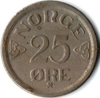 COIN / NORWAY / 25 ORE 1957  #WT2724
