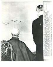 Gandolfo Castle, Pope Pius XII watching a demonstration of U.S. built F-86 Vinta