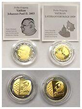 """2 Münzen Probe-Prägung """"Vatikan Lateranverträge 1929, Johannes Paul II. 2003"""""""