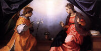 """Nice oil painting Andrea del Sarto - Annunciation Madonna with angel canvas 36"""""""