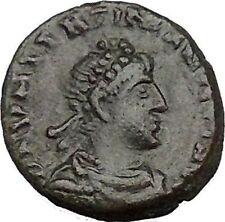 Valentinian II 388AD Ancient Roman Coin Victory Chi-Rho Christ monogram  i35657