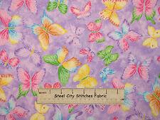 Butterfly Glitter Fabric ~ 100% Cotton By The Yard ~ Butterflies Toss Purple