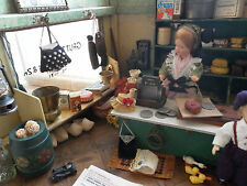 Antique German 1920s Grocery Store Wooden Doll House & Accessories PACKED FULL
