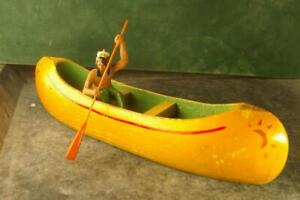 COMPOSITION Unbranded Wild West WW Indian Sturdy Wood Canoe w Paddler~7cm E