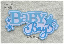 Die Cut BABY BOY Blue Title Scrapbook Embellishment Page Paper Piecing CKS