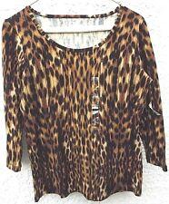 NWT's Jones New York Sport Animal Print Ladies 3/4 Sleeve Top Size S Very Stretc