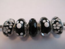 5 Pandora Murano glass silver beads charm black daisy flowers Disney mickey new