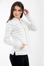 Womens Ex Fat Face Cream Blue Hoodie Ladies Stripe Zip Thru Hoody Sweatshirt