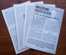 RELATION CANCER DU SEIN MAMMOGRAPHIE    document photo  clipping 2001