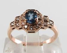 LUSH 9CT 9K ROSE GOLD BLUE SAPPHIRE & DIAMOND ART DECO INS RING FREE RESIZE