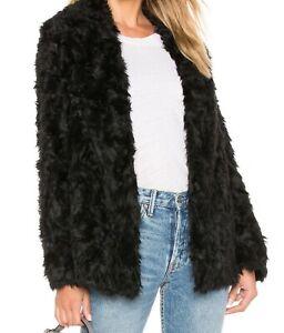Theory Clairene Faux Fur Black Coat, M