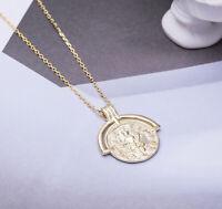 A04 Anhänger mit Kette Silber 925 vergoldet Stil B Nachbildung alte Münze
