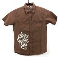 SOHO Clothing CO. New York Men's Short Sleeve Shirt Medium Cross Skull Feathers