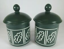 More details for hornsea pottery forest pattern canisters tea coffee sugar dark green air tight