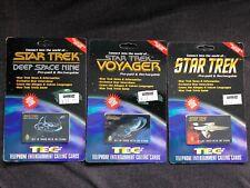 Star Trek Telephone Calling cards 3pcs Voyager Deep Space Nine Uss Enterprise