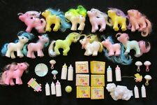 "LOT OF 13 HASBRO ""MY LITTLE PONY"" BABY PONIES & NURSERY + TOYS, DIAPERS - NR"