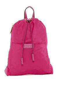 New Marc Jacobs Active LARGE Nylon Drawstring Backpack Bag Magenta Pink NWT $195