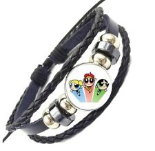 Domed Braided Leather Bracelet Powerpuff Girls Logo Glass