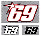 NUMERO 69 COURSE RACING NUMBER MOTO GP HAYDEN AUTOCOLLANT STICKER (NU004)