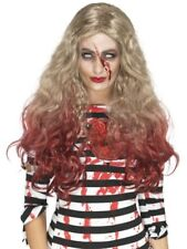 Zombie Wig Blood Drip Blonde Adult Womens Ladies Halloween Fancy Dress