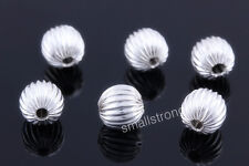 50 Pcs silver plated spacers Loose beads Bracelets Findings Charms 8mm